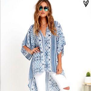 Lulus Ancient Magic Blue Print Tunic high-low Top